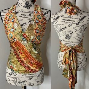 CACHE | Print Silk Halter Top Long Sash Ties OS
